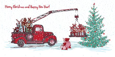 Festive New Year 2018 card design Vector illustration