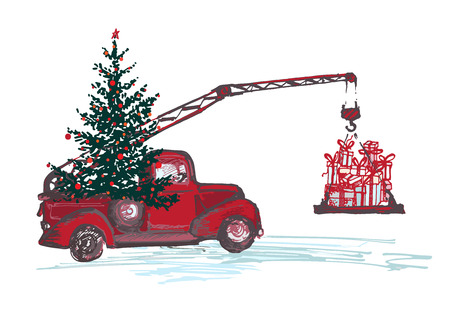 Red crane truck with fir tree decorated with red balls and Christmas gifts isolated Vector illustrations Illustration