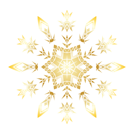Golden stencil snowflake for winter celebration decoration Christmas and New Year greeting card, wedding invitation background. Laser cut template design Gold gradient texture. Zentangle mandala style