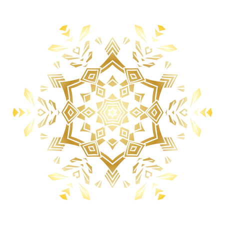 Golden stencil snowflake for winter celebration decoration Christmas and New Year greeting card, wedding invitation background. Laser cut template design Gold gradient texture. Illustration