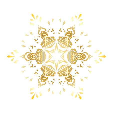 Golden stencil snowflake for winter celebration decoration, Christmas and New Year greeting card, wedding invitation background. Laser cut template design Gold gradient texture.