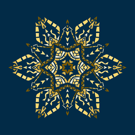 Golden stencil snowflake for winter celebration decoration, Christmas and New Year greeting card, wedding invitation background. Laser cut template design Gold colored texture.