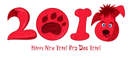 2018 cartoon character red dog, chinese zodiac sign Cute icon on white background. Good idea for poster, Happy new year greeting card, decoration gingerbread and christmas cookies. Vector illustration