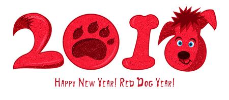 2018 Zeichentrickfigur roter Hund, chinesisches Sternzeichen Nette Ikone auf weißem Hintergrund. Gute Idee für Plakat, guten Rutsch ins Neue Jahr-Grußkarte, Dekorationslebkuchen und Weihnachtsplätzchen. Vektor-illustration Standard-Bild - 91310806