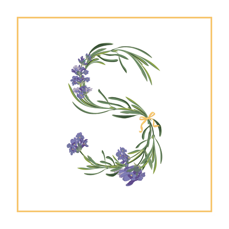 Letter S monogram. Retro sign alphabet with lavender flower initial. Watercolor style, botanical illustration isolated on white. Vintage vector font typeface