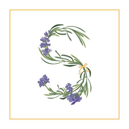 Letter S monogram. Retro tekenalfabet met aanvankelijke lavendelbloem. Aquarel stijl, botanische illustratie geïsoleerd op wit. Vintage vector lettertype lettertype Vector Illustratie