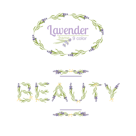 Typography slogan with lavender flower text Beauty for t-shirt printing, embroidery, design. Graphic and printed tee. Inspirational Quote isolated on white background Vector illustration.