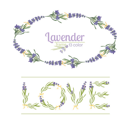 Typography slogan with lavender flower text design