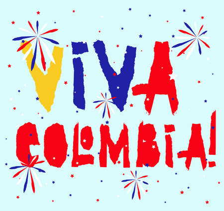 Flat fiestas patrias design for banner, apparel print, independence victory day card, slogan graphic poster with text Viva Colombia in national state flag colors. Vintage grunge torn paper style. Illustration