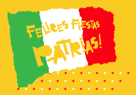 Flat fiestas patrias design for banner, apparel print independence victory day card slogan graphic poster with text fiestas patrias in Mexico national state flag colors Vintage grunge torn paper style