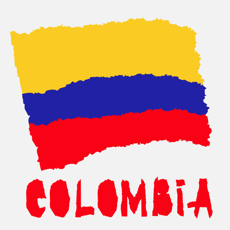 Vintage national flag of Colombia in torn paper grunge texture style. Independence day background. Isolated on white Good idea for retro badge, banner, T-shirt graphic design. Vector illustration