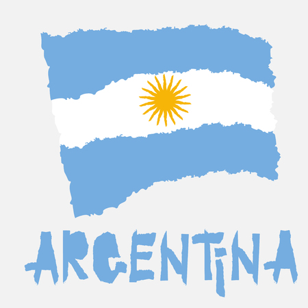 Vintage national flag of Argentina in torn paper grunge texture style. Independence day background. Isolated on white Good idea for retro badge, banner, T-shirt graphic design. Vector illustration