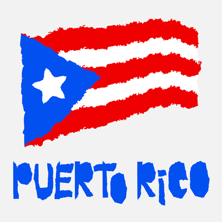 Vintage national flag of Puerto Rico in torn paper grunge texture style. Independence day background. Isolated on white Good idea for retro badge, banner, T-shirt graphic design. Vector illustration