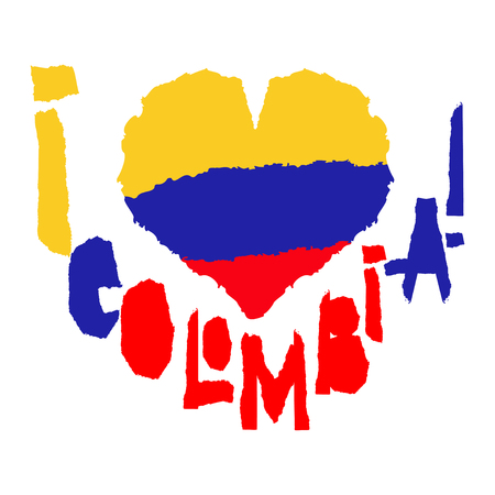 Love Colombia, America. Vintage national flag in silhouette of heart Torn paper texture style Independence day background Good idea for retro badge banner, T-shirt graphic design Vector illustration  イラスト・ベクター素材
