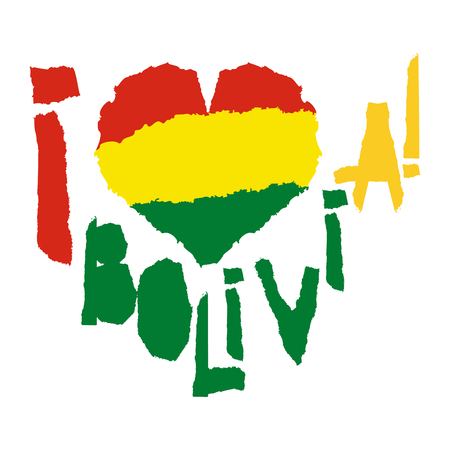 Love Bolivia, America. Vintage national flag in silhouette of heart Torn paper texture style Independence day background Good idea for retro badge banner, T-shirt graphic design Vector illustration Иллюстрация