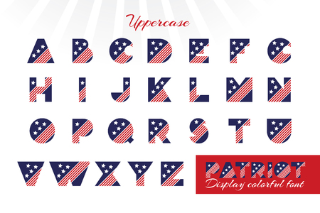 Alphabet for celebration design 4 th july in vintage style on white background with text. Vector illustration. American independence Patriot day Illustration