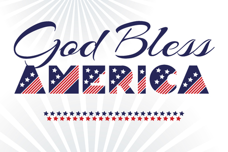 Slogan vector print for celebration design 4 th july in vintage style on white background with text God Bless America. Vector illustration. American independence Patriot day 일러스트