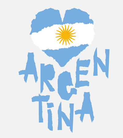 Love Argentina, America. Vintage national flag in silhouette of heart Torn paper texture style Independence day background Good idea for retro badge banner, T-shirt graphic design Vector illustration