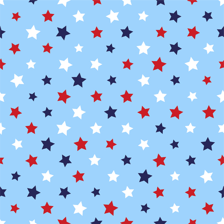 Festive seamless background in national colors USA red white blue. Strips, stars, fireworks Great idea for decorating holiday on July 4th, Independence memory Days, barbecue party Vector illustration