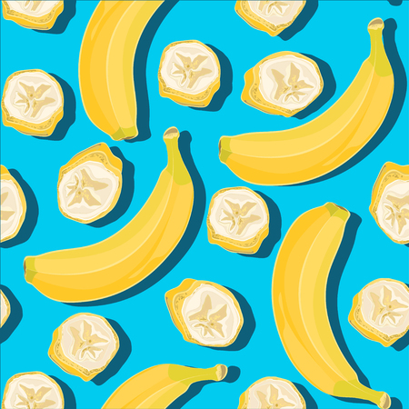 Trendy minimal summer seamless pattern with whole, sliced fresh fruit banana on color background. Vector illustrations