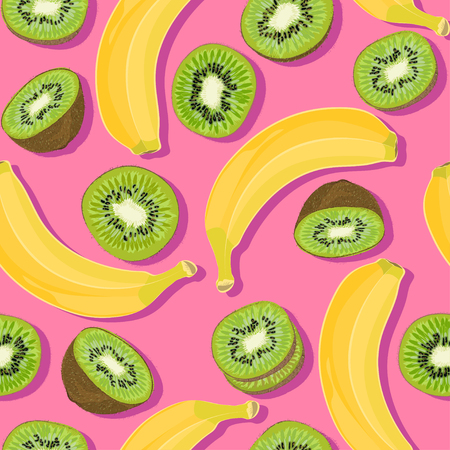 Trendy minimal summer seamless pattern with whole, sliced fresh fruit banana, kiwi on color background. Vector illustrations