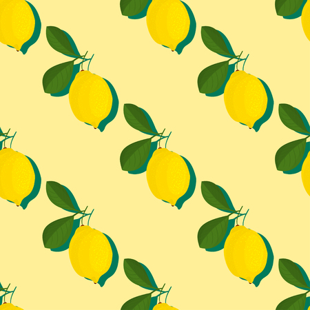 Trendy minimal summer seamless pattern with whole, sliced fresh fruit lemon on color background. Vector illustrations  イラスト・ベクター素材