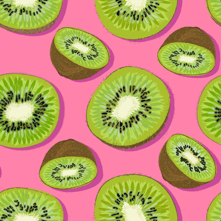 Trendy minimal summer seamless pattern with whole, sliced fresh fruit kiwi on color background. Vector illustrations