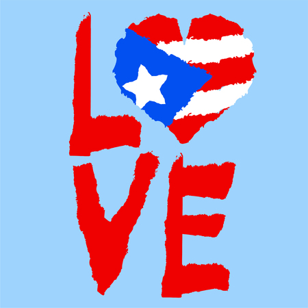Love Puerto Rico, America. Vintage national flag in silhouette of heart Torn paper texture style Independence day background Good idea for retro badge banner T-shirt graphic design Vector illustration