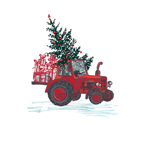 Festive New Year 2019 card. Red tractor with fir tree decorated red balls and holiday gifts isolated on white background. Vector illustrations Vectores