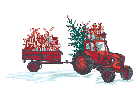 Festive New Year 2019 card. Red tractor with fir tree decorated red balls and holiday gifts isolated on white background. Vector illustrations Ilustrace