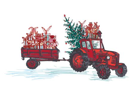 Tarjeta festiva de año nuevo 2019. Tractor rojo con abeto decorado bolas rojas y regalos navideños aislados sobre fondo blanco. Ilustraciones vectoriales