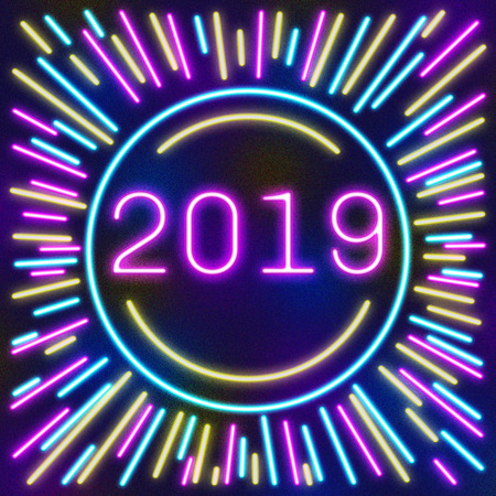 2019. Cover Calendar page in neon effect style poster for concept typography design, flat color. Week starts on Sunday Happy New year. Illustration
