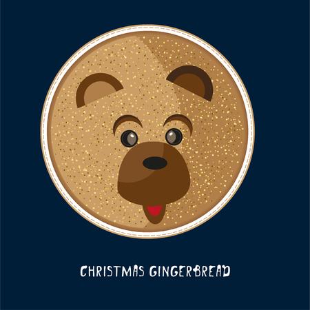 Cute birthday baby sticker with animals bear Design for greeting card on dark blue