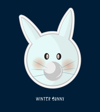 Cute birthday baby sticker with animals rabbit Design for greeting card, cartoon invitation, banner, frame milestone print Isolated on dark blue