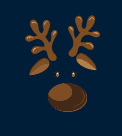 Cute birthday baby sticker with animals deer, reindeer Design for greeting card, cartoon invitation, banner, frame milestone print Isolated on dark blue