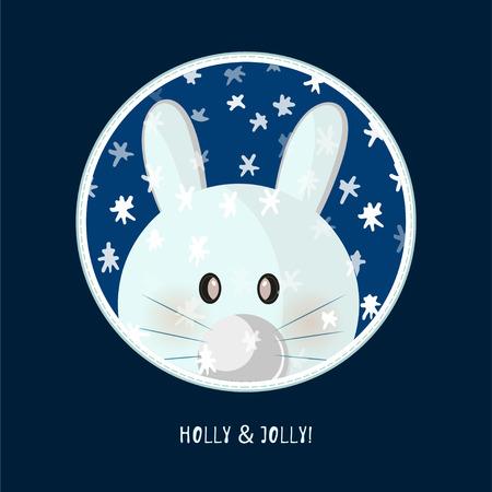 Cute birthday baby sticker with animals rabbit Design for greeting card, cartoon invitation, banner, frame milestone print Isolated on dark blue