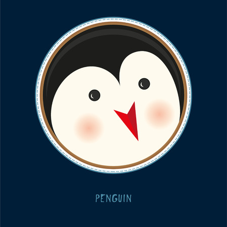 Cute birthday baby sticker with animals penguin Design for greeting card, cartoon invitation, banner, frame milestone print Isolated on dark blue Vettoriali