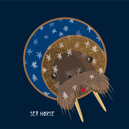 Cute birthday baby sticker with animals walrus Design for greeting card, cartoon invitation, banner, frame milestone print Isolated on dark blue