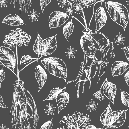 Realistic Botanical ink sketch seamless pattern with ginseng root, flowers, berries isolated on black, floral herbs collection. Traditional chinese medicine plant. Vintage rustic vector illustration.