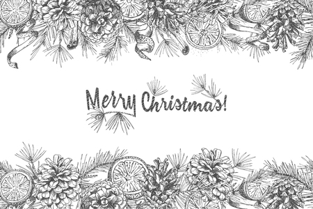 Christmas background Realistic Botanical ink sketch of fir tree branches with pinecone isolated on white. Good idea for design invitations, greeting postcards, banner Vector illustrations