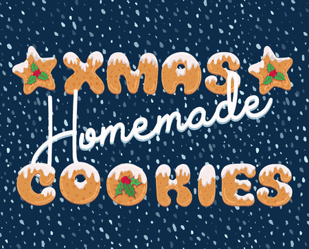 Typography christmas greeting card in cartoon style with text form of homemade cookies. Xmas doodle letters for banner, invitation, poster, label, postcard. Vector illustration