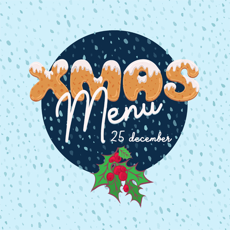 Christmas menu design in cartoon style with text form of homemade cookies. Doodle letters for brochure, poster, vintage festive background, party card. Vector illustration. Çizim