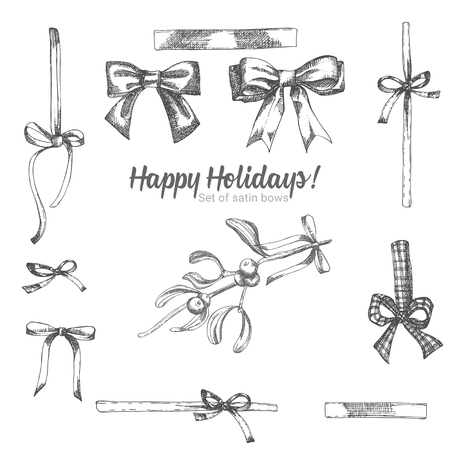 Set of hand drawn sketch holiday satin bow. Vintage style. Traditional christmas decoration. For design holiday card, invitation, poster, banner. Vector illustration