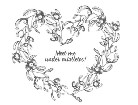Hand drawn botanical sketch wreath mistletoe branches. Vintage style. Traditional christmas decoration. For design holiday card, invitation, poster, banner. Vector illustration