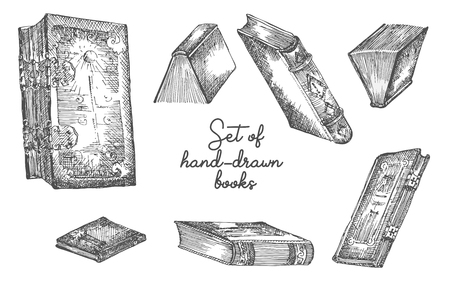 Set of hand drawing sketch books for concept vintage design fair or festival flyer, paper, banner, school library retro poster, bookshop advertising in engraving style Vector llustration.