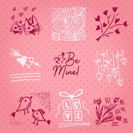 Valentines day card or invitation whit motivation text Be Mine. Wedding concept Greeting card, poster, banner, design element. Love pink background. Vector illustration. Vektoros illusztráció
