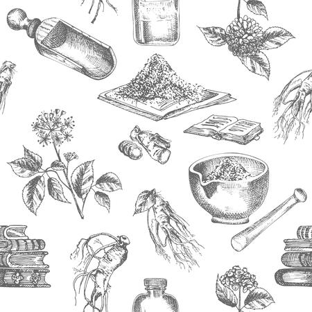 Dibujo de tinta botánica realista de patrones sin fisuras de raíz de ginseng, flores, bayas, botella, mortero y maja aislado sobre fondo blanco, planta de medicina. Ilustración de vector rústico vintage. Ilustración de vector