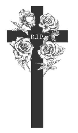 Concetto di ornamento funebre con rose disegnate a mano e croce in colore nero isolato su bianco Stile vintage inciso Design moderno modello di sfondo per invito, carta, necrologio. Illustrazione vettoriale Vettoriali