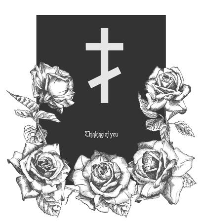 Concepto de adorno funerario con rosas dibujadas a mano y cruz en color negro aislado en blanco Diseño de fondo de plantilla moderna de estilo grabado vintage para invitación, tarjeta, obituario. Ilustración vectorial