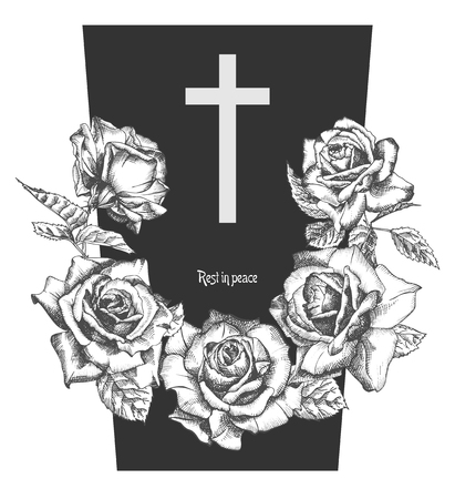 Funeral ornament concept with hand drawn roses and cross in black color isolated on white Vintage engraved style Modern template background design for invitation, card, obituary. Vector illustration